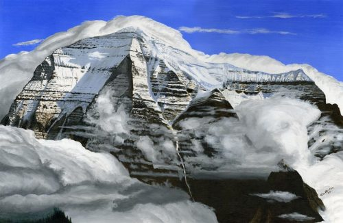 Painting - Mt Robson in the Clouds