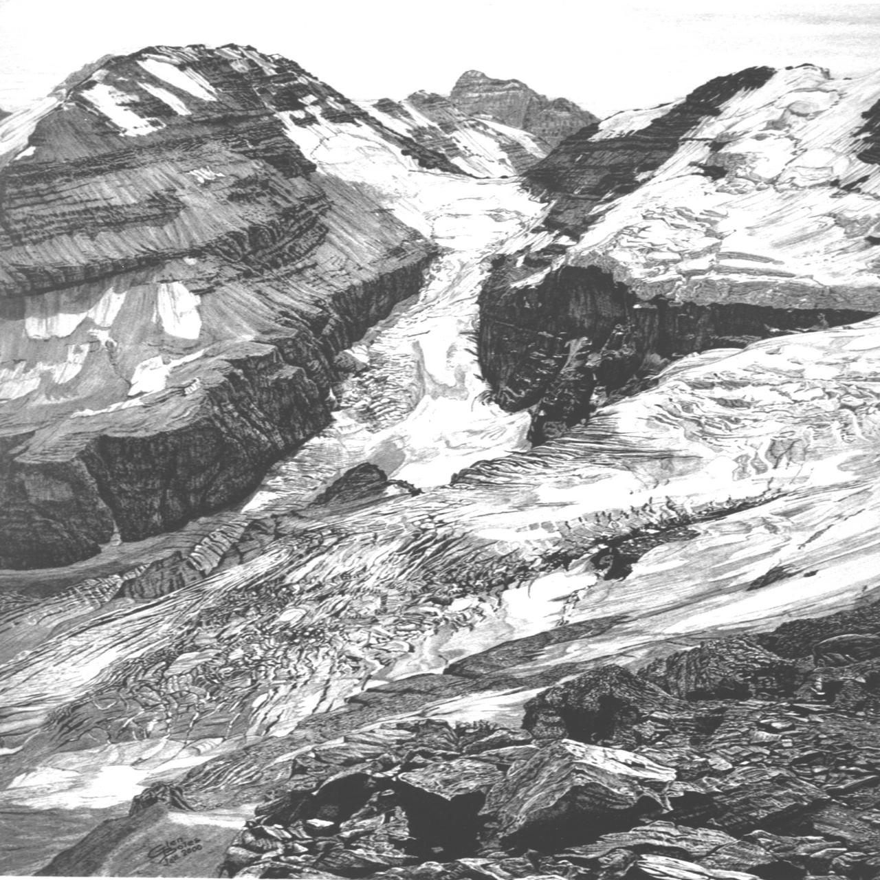 Drawing - Abbot Pass and Victoria Glacier