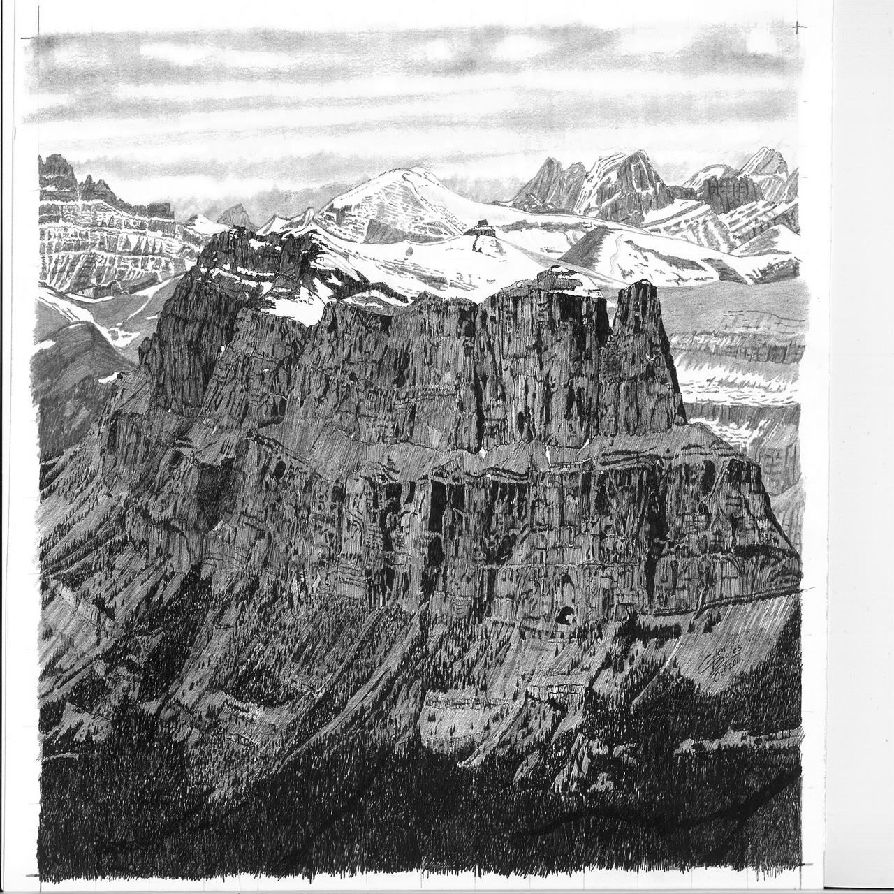 Drawing - Castle Mountain