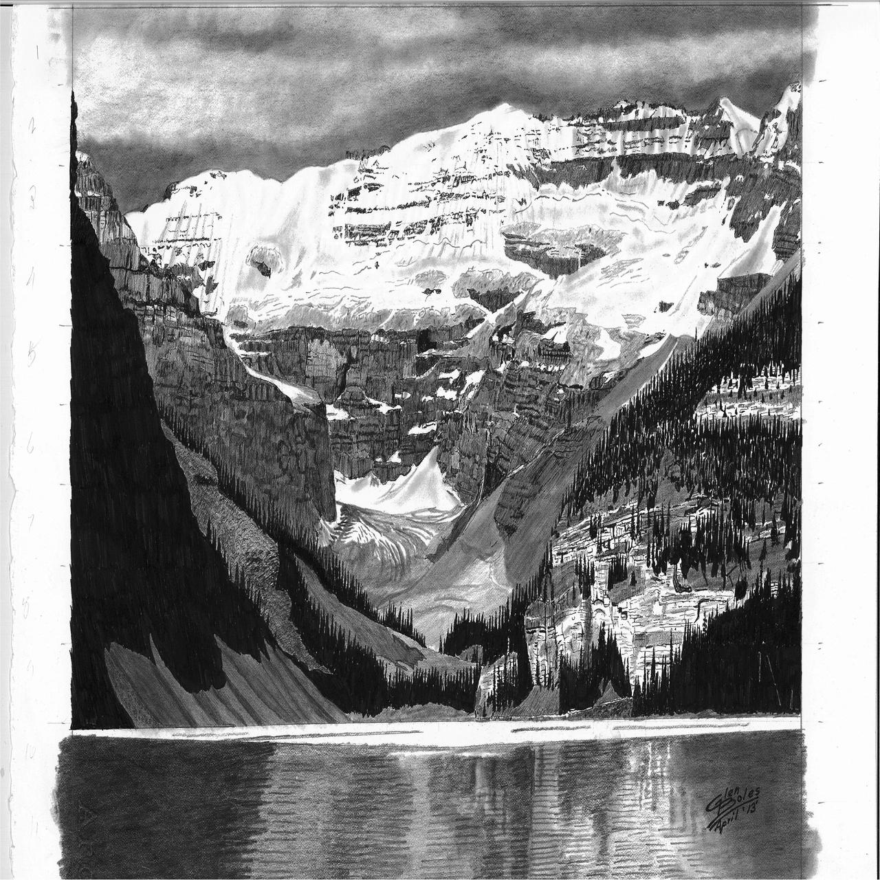 Drawing - Lake Louise and Mt Victoria