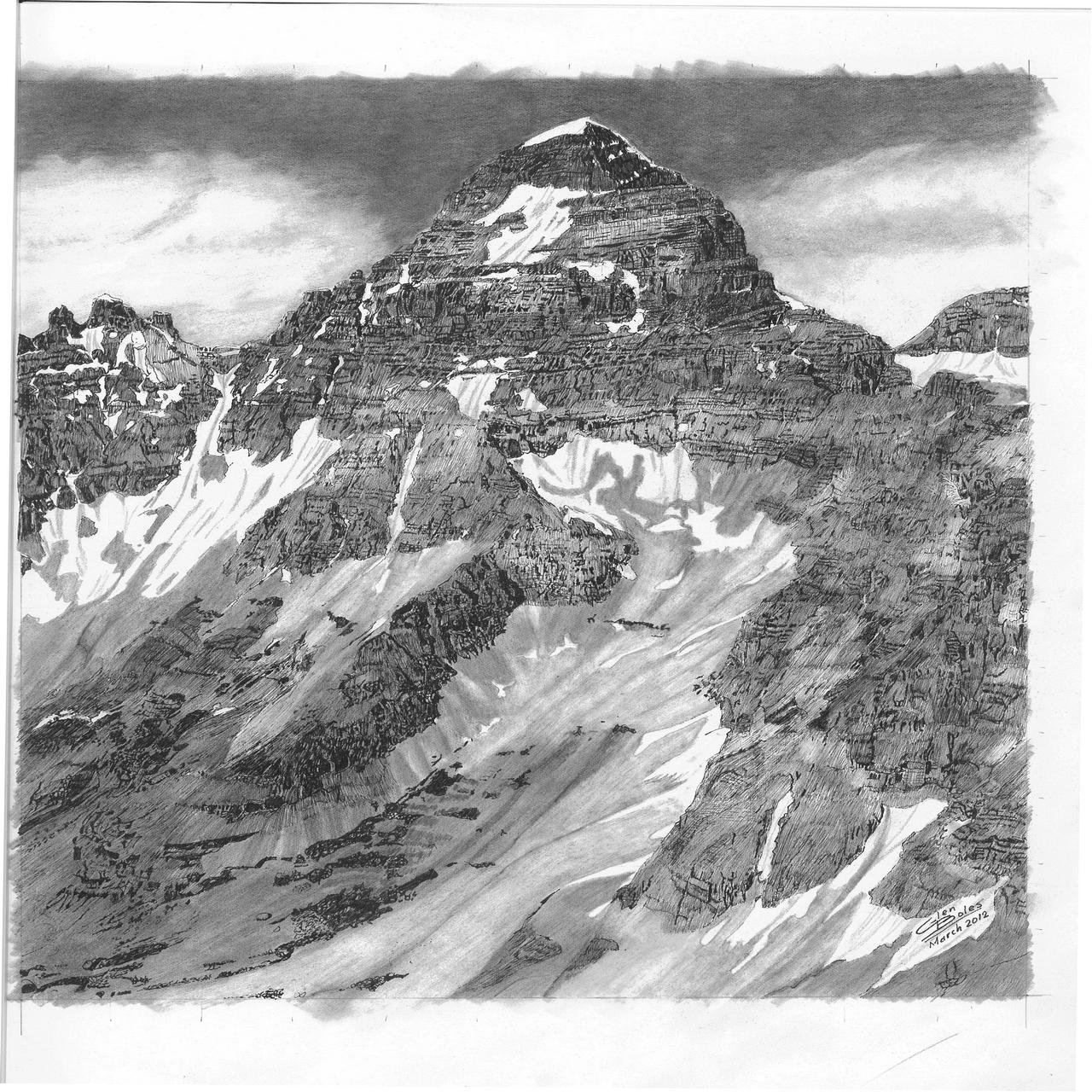 Drawing - Mt Assiniboine - South Face