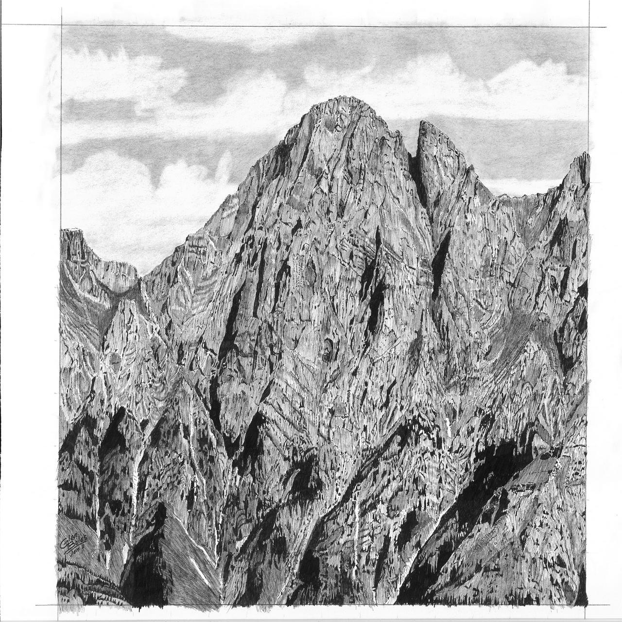 Drawing - Mt Blane