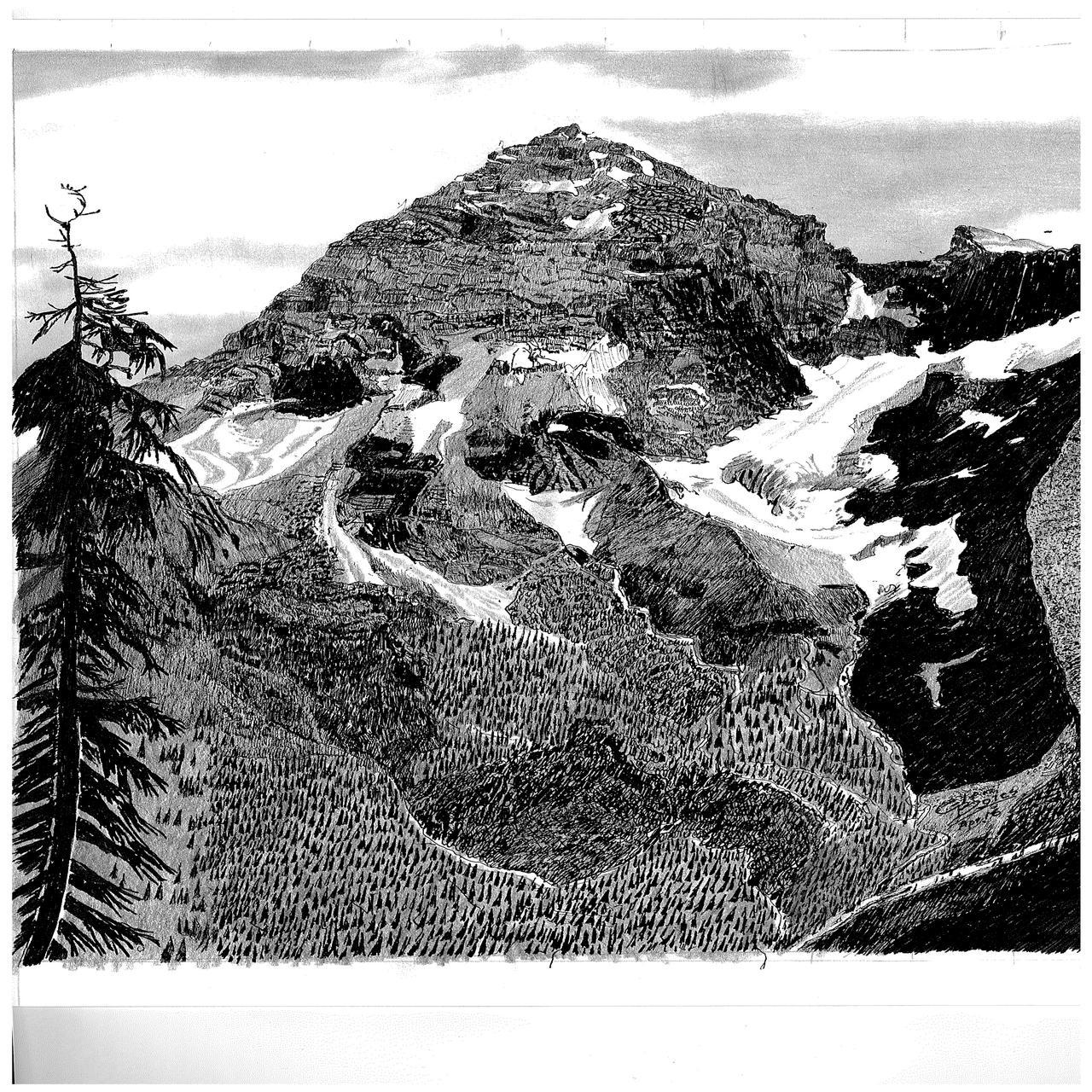 Drawing - Mt Sir Donald
